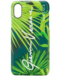 Versace Leaf Print Iphone X Case - Green