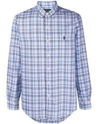 Ralph Lauren Collection Checked Cotton Shirt - Blue