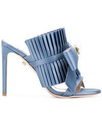Fausto Puglisi Pleated Bow Stiletto Sandals - Blue