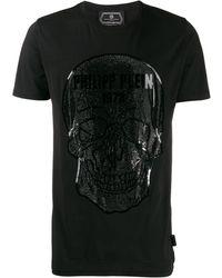 Philipp Plein T-Shirt Con Teschio Di Strass - Nero