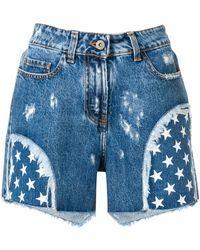 Faith Connexion Star Print Denim Shorts - Blue