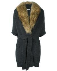 P.A.R.O.S.H. - Marmot Fur Collar Cardi-coat - Lyst