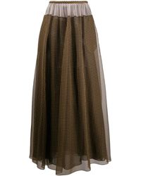 Fendi Vichy Pattern Organza Skirt - Brown