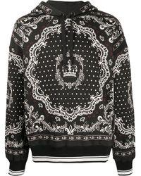 Dolce & Gabbana Sudadera con capucha y motivo de bandana - Negro