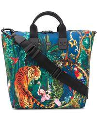 Dolce & Gabbana Jungle Print Shopper Tote Bag - Blue