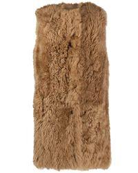 Yves Salomon Sleeveless Reversible Leather Coat - Brown