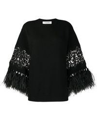 Valentino Feather-trimmed Sweater - Black