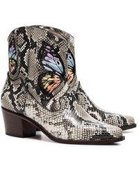Sophia Webster Ковбойские Ботинки Shelby 50 Со Змеиным Принтом - Коричневый