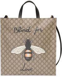 Gucci - Bee Print Soft Gg Supreme Tote - Lyst