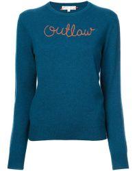 Lingua Franca Outlaw embroidered sweater - Bleu