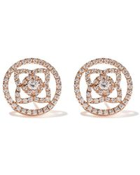 De Beers 18kt Rose Gold Enchanted Lotus Openwork Diamond Stud Earrings - Multicolor