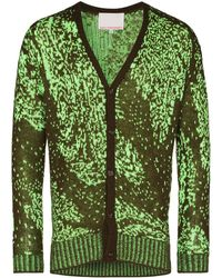 Paria Farzaneh Intarsia-knit Buttoned Cardigan - Green