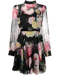 Philipp Plein Платье С Цветочным Принтом И Поясом - Черный