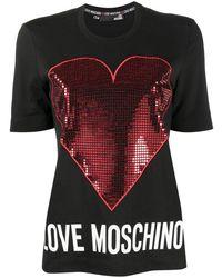 Love Moschino ハート Tシャツ - ブラック