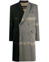 Uma Wang Manteau colour block à effet usé - Noir