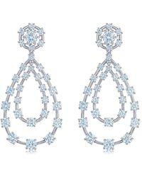 Kwiat 18kt White Gold Starry Night Diamond Double Teardrop Earrings - Metallic