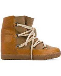 Isabel Marant Wide Ankle Hi Tops - Brown