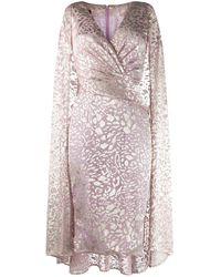 Talbot Runhof Платье С Эффектом Металлик И Драпировкой - Розовый