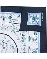 Erdem Silk Floral Print Scarf - Blue