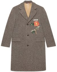 Gucci - Wool Coat With Embroideries - Lyst