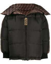 Fendi Ff Logo Puffer Jacket - Black