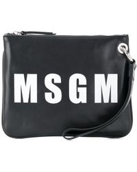MSGM Logo Print Clutch - Black