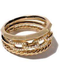 David Yurman 18 Kt Geelgouden Smalle Stax Ring Met Diamant - Metallic
