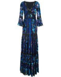 Marchesa notte Metallic Floral Pattern Dress - Blauw