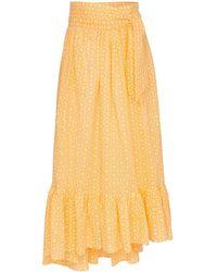 Lisa Marie Fernandez Floraler Maxirock mit Schleifenverschluss - Gelb