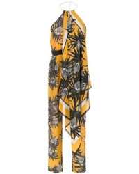 Andrea Marques Silk Printed Jumpsuit - Yellow