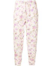 LoveShackFancy Pantalon Etty à fleurs - Rose