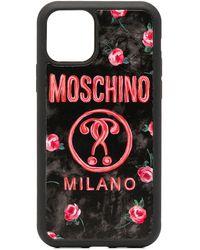 Moschino Funda para iPhone 11 con logo - Negro
