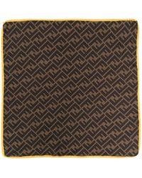 Fendi Motif-print Silk Scarf - Brown