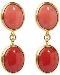 Gurhan 24kt Gold Rune Coral Drop Earrings - Multicolor