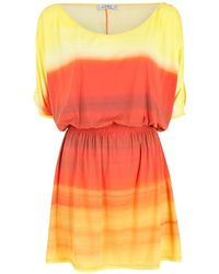 Amir Slama Vestido a rayas con hombros descubiertos - Naranja