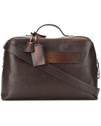 Santoni Pebbled Briefcase - Brown
