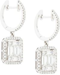 Gemco - 18kt White Gold Square Cut Diamond Drop Earrings - Lyst
