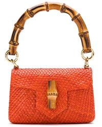 Serpui Straw Shoulder Bag - Orange
