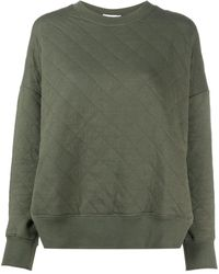 Closed Quilted Side Slit Sweatshirt - Green