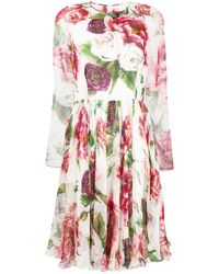 Dolce & Gabbana - Rose Print Pleated Dress - Lyst