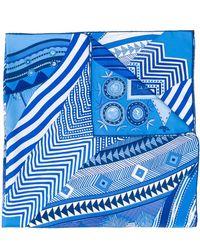 Hermès Foulard à imprimé géométrique - Bleu