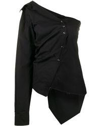 Marques'Almeida Поплиновая Рубашка Асимметричного Кроя - Черный