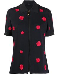 Versace Rose Embroidered Polo Top - Black