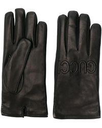Gucci Handschoenen Met Logo Versierd - Zwart