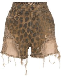 R13 Leopard-print Distressed Shorts - Brown