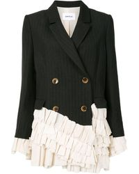 Enfold Ruffle-trimmed Double Breasted Blazer - Black