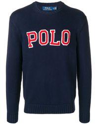 Polo Ralph Lauren Trui Met Universiteit Logo - Blauw