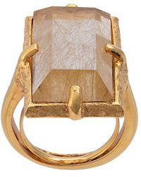 Oscar de la Renta Rutilated Quartz Ring - Metallic
