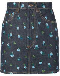 Marc Jacobs The Mini Floral Print Skirt - Blue