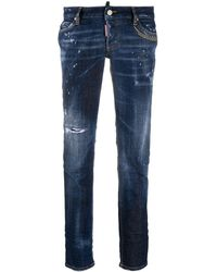 DSquared² Stonewashed Bootcut Jeans - Blue